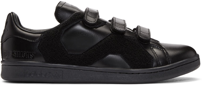 Raf Simons Black Adidas Originals Edition Stan Smith Comfort Badge Sneakers
