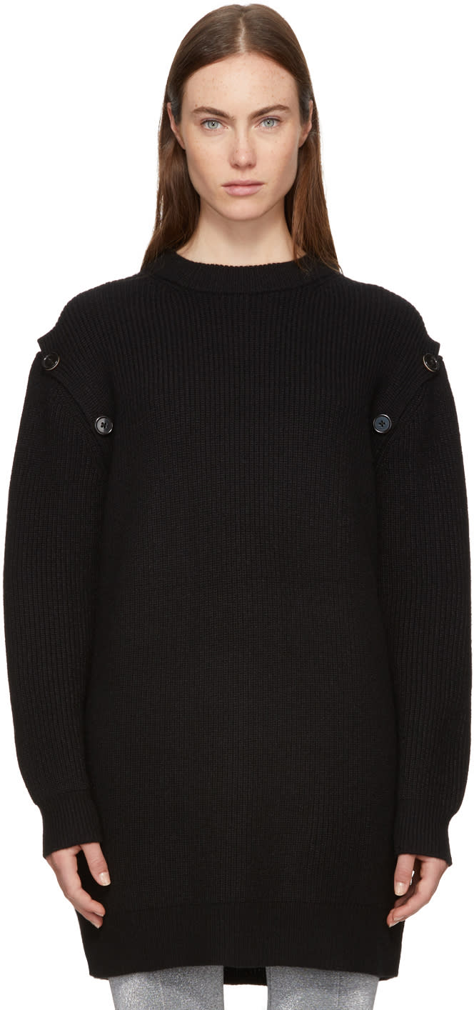 Image of Proenza Schouler Black Buttoned Sleeve Sweater