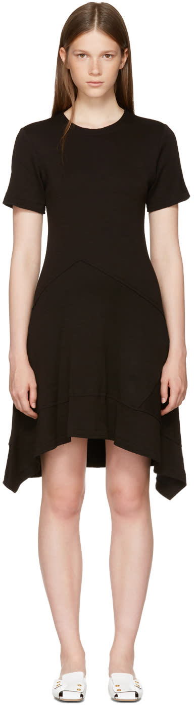 Image of Proenza Schouler Black Asymmetric Waist Dress