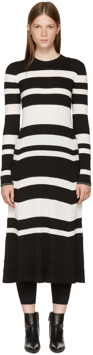 Image of Proenza Schouler Black and Off-white Striped Knit Dress