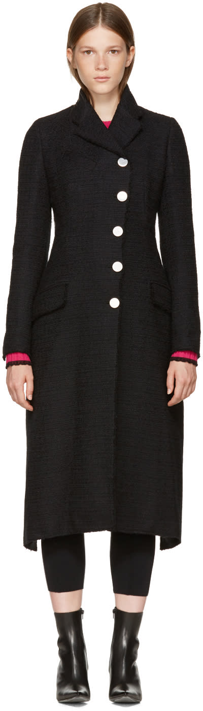 Image of Proenza Schouler Black Asymmetric Back Tie Coat