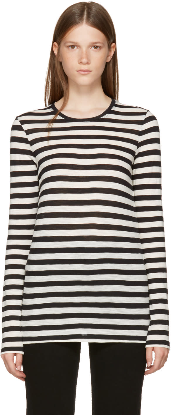 Image of Proenza Schouler Black and Off-white Long Sleeve Striped T-shirt