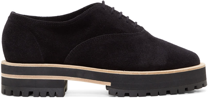 Repetto Black Suede Gordon Lug Sole Oxfords