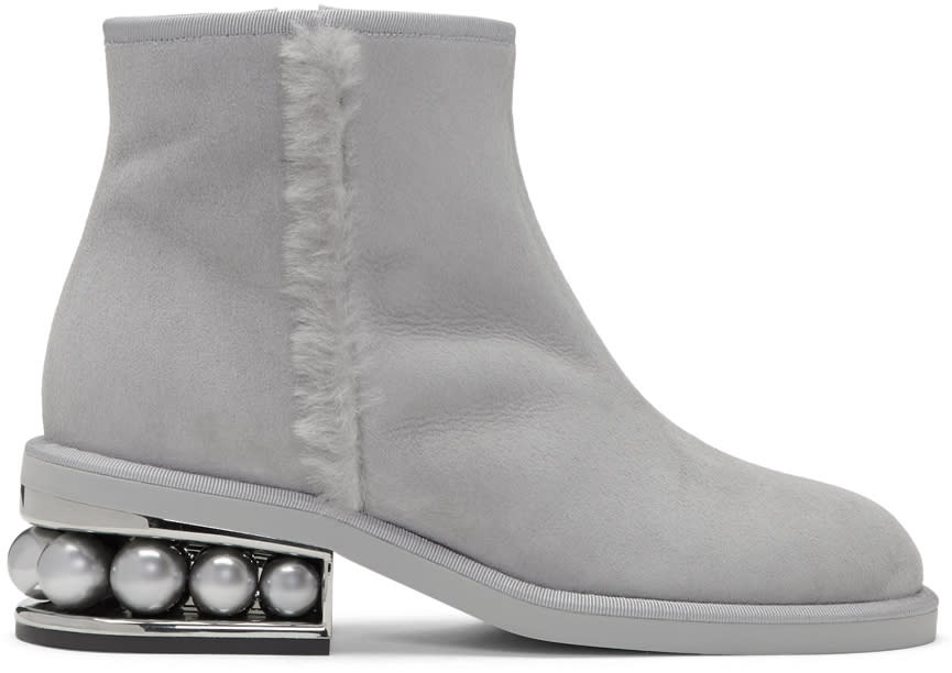 Nicholas Kirkwood Grey Suede Casati Pearl Boots