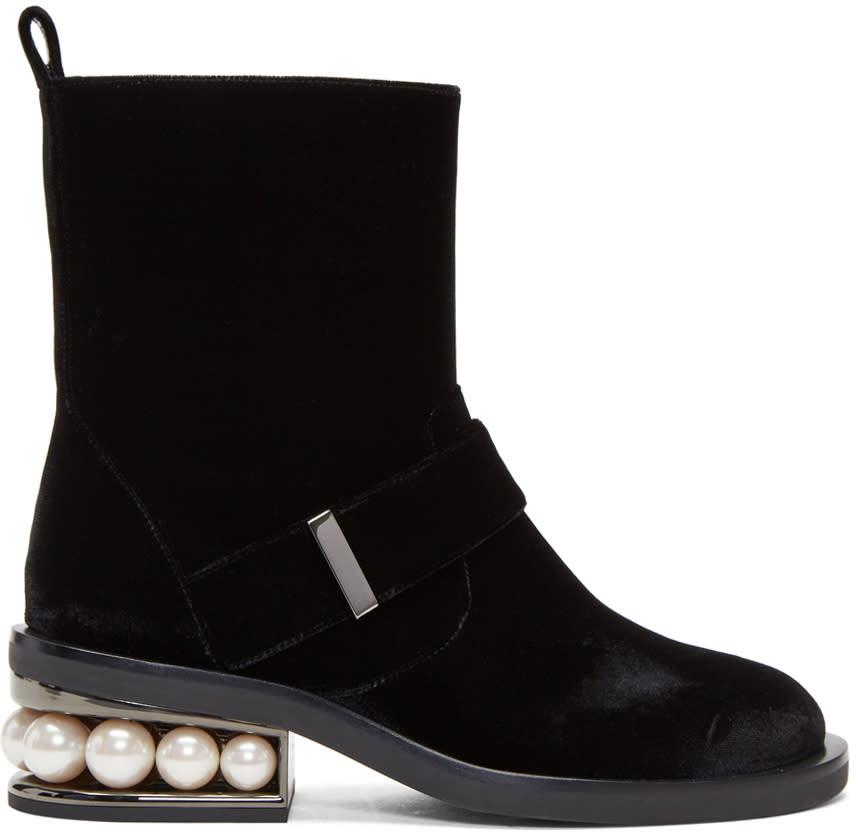 Nicholas Kirkwood Black Velvet Casati Pearl Biker Boots