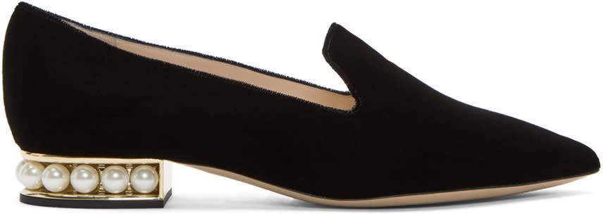 Nicholas Kirkwood Black Velvet Casati Pearl Loafers
