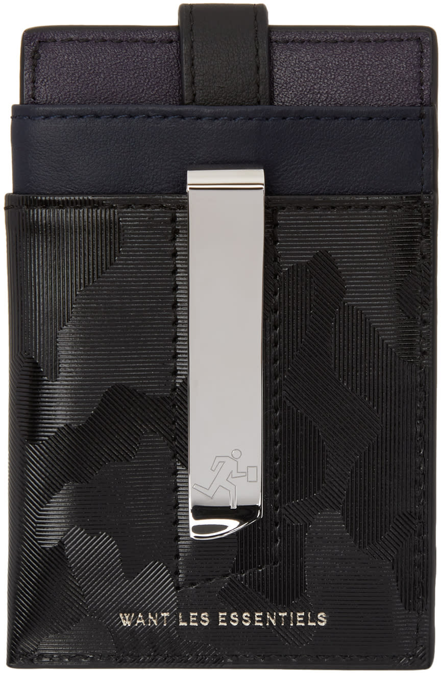 Image of Want Les Essentiels Black Camo Kennedy Card Holder