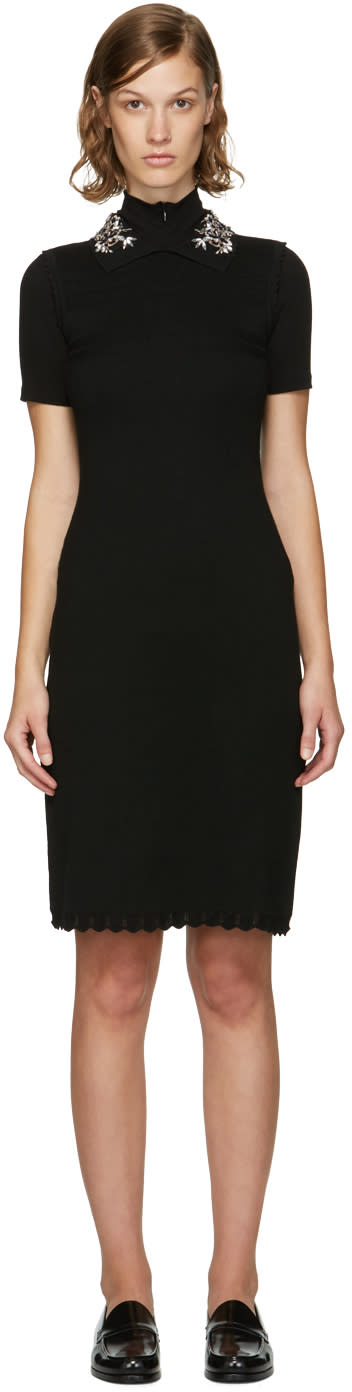 Image of Carven Black Jewelled Collar Dress