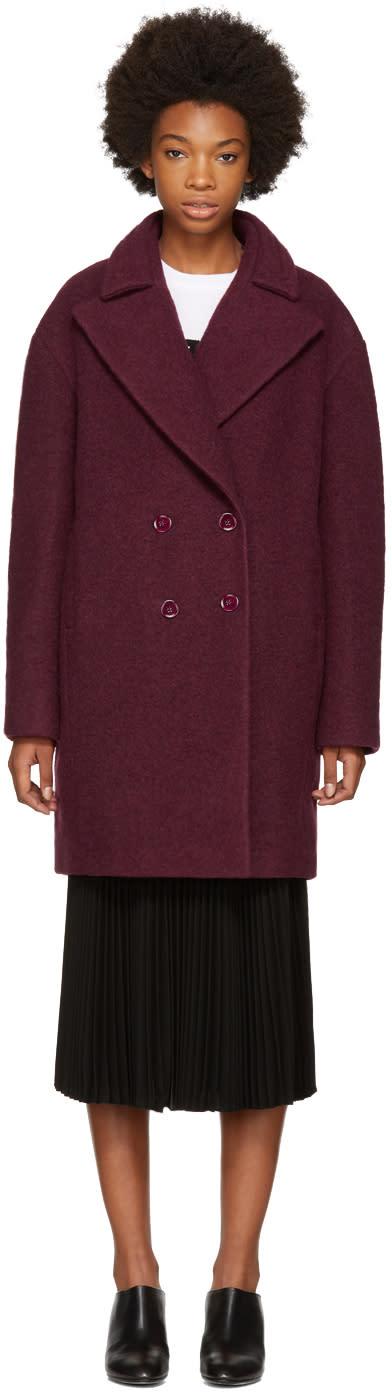 Image of Carven Burgundy Boule Coat