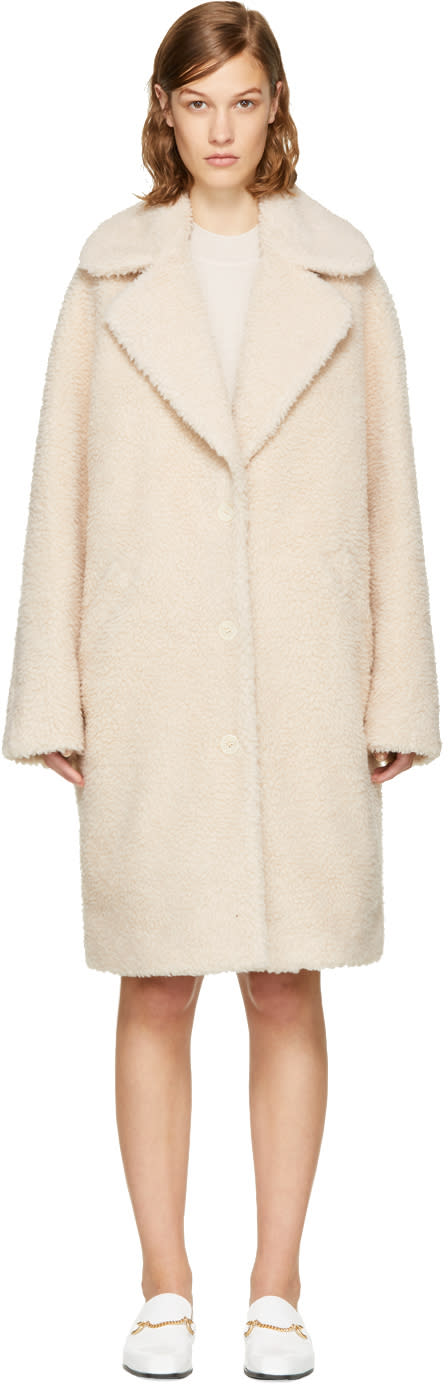 Image of Carven Beige Shaggy Faux-fur Coat