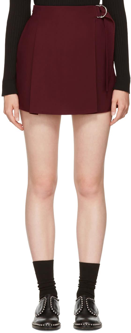 Image of Carven Burgundy Belt Sash Shorts