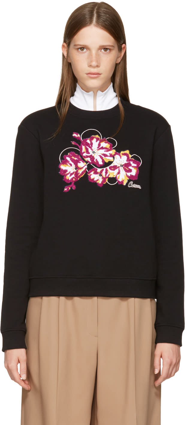 Image of Carven Black Embroidered Floral Sweatshirt