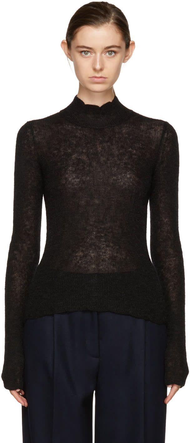 Image of Carven Black Mohair Turtleneck
