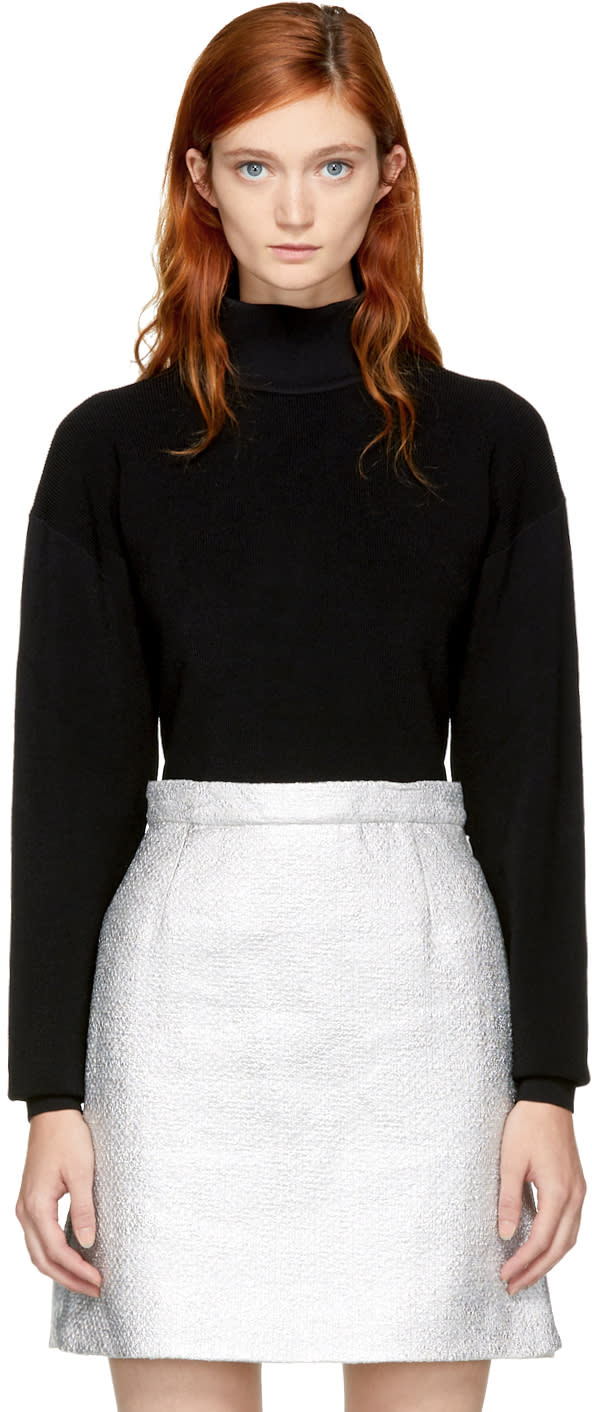 Image of Carven Black Cropped Turtleneck