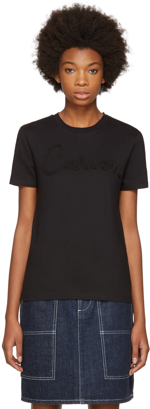 Image of Carven Black Grosgrain Logo T-shirt