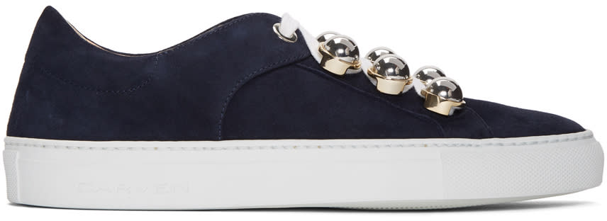 Carven Baskets En Suède Bleu Marine Germain