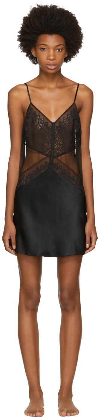 Image of Calvin Klein Underwear Black Silk Excite Chemise Slip