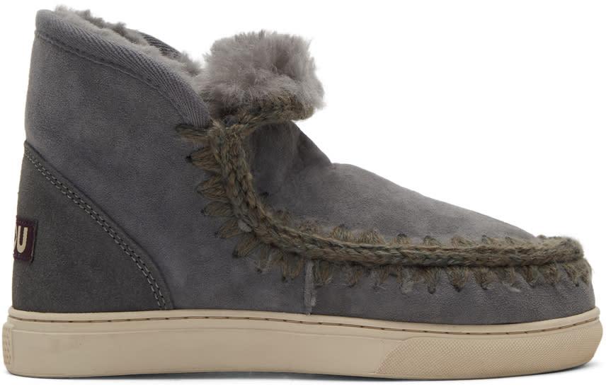 Image of Mou Grey Mini Eskimo Sneaker Boots