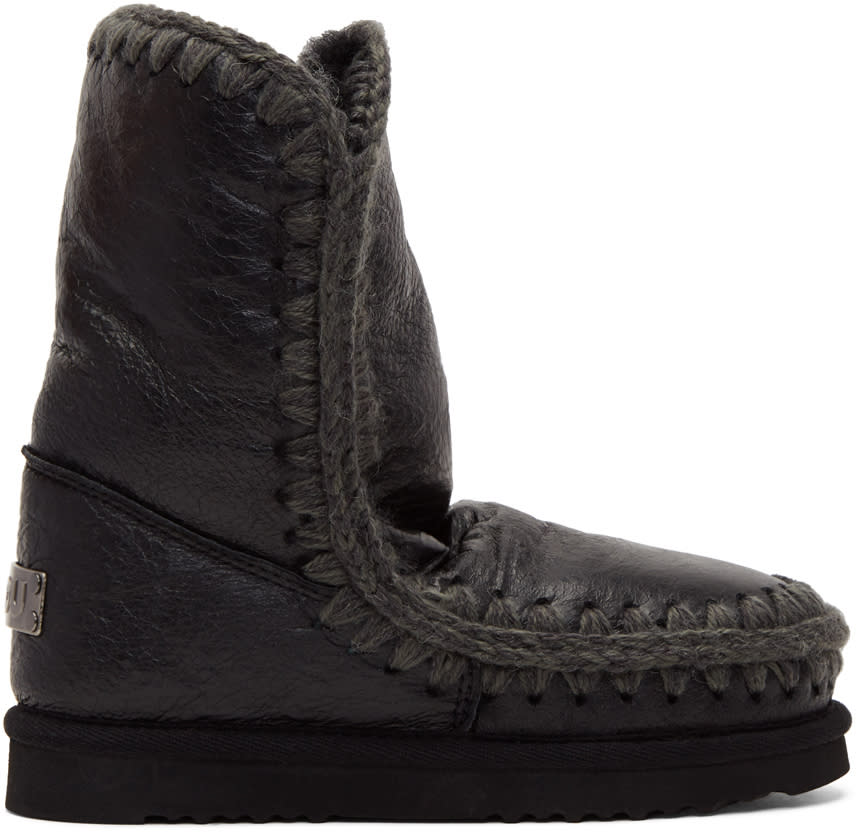 Image of Mou Black Waxed Eskimo 24 Boots