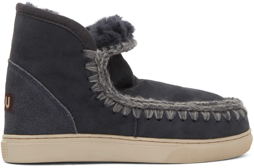 Image of Mou Navy Mini Eskimo Sneaker Boots