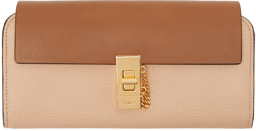 Image of Chloé Beige Long Drew Flap Wallet