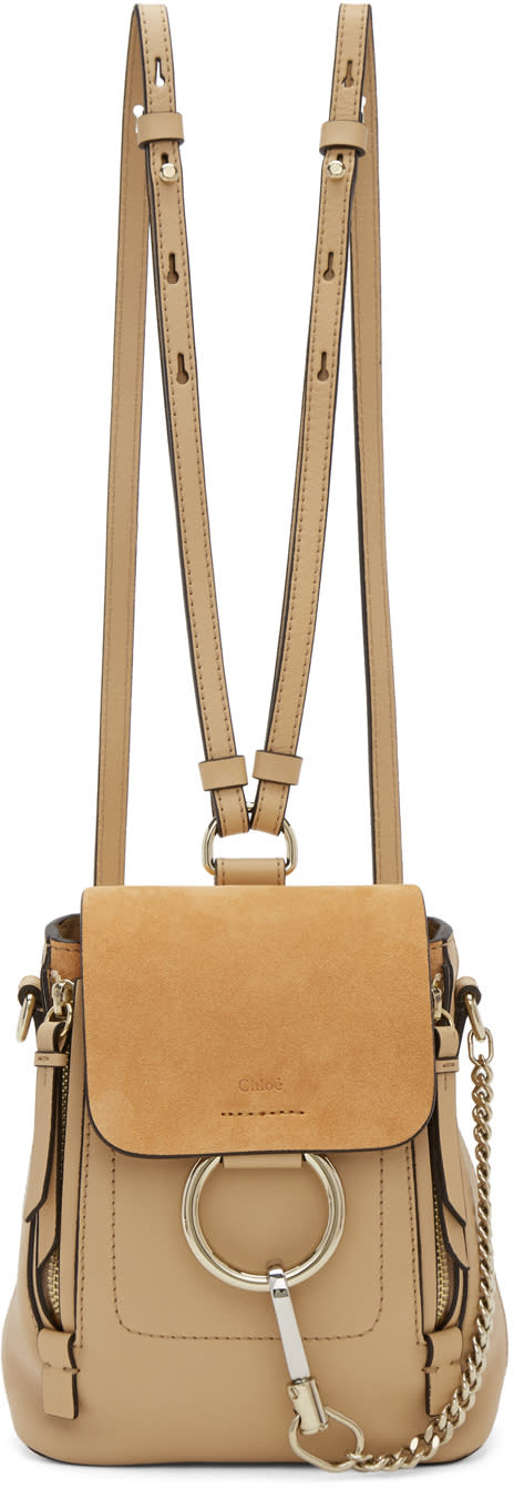 Image of Chloé Beige Mini Faye Backpack