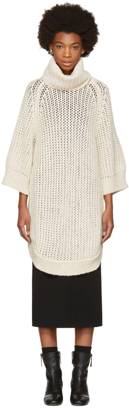 Image of Chloé Beige Oversized Short Sleeve Turtleneck