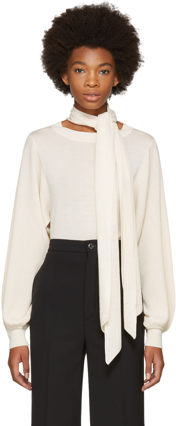 Image of Chloé Beige Bow Turtleneck