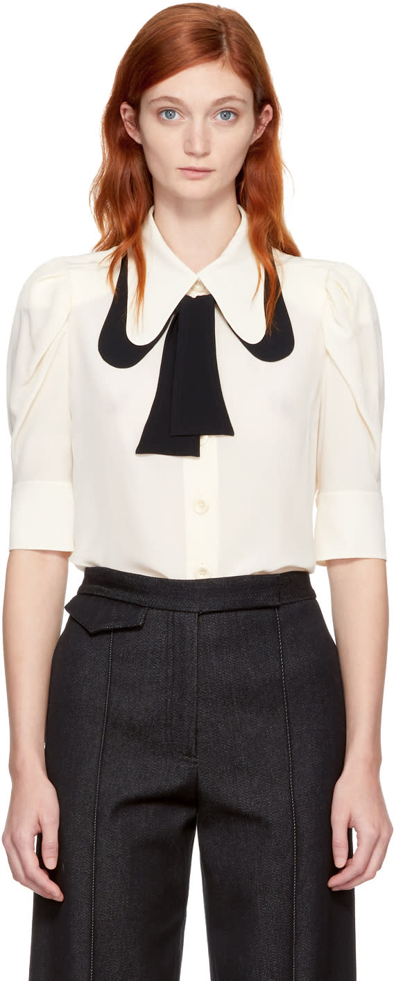 Image of Chloé Beige Silk Bow Shirt