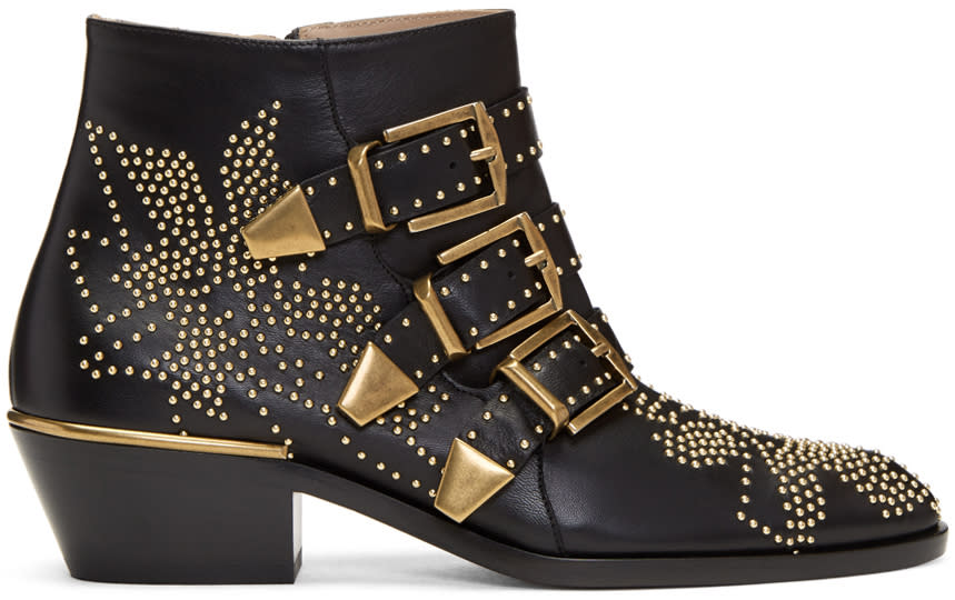 Chloe Black and Gold Susanna Boots