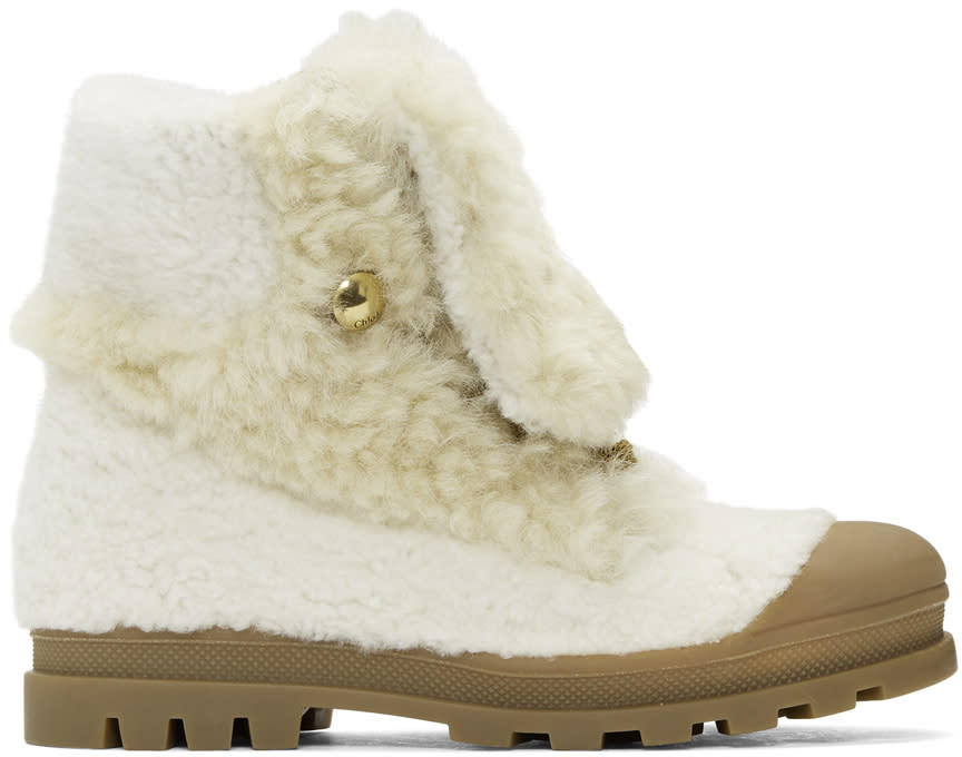 Chloe White Shearling Parker Boots