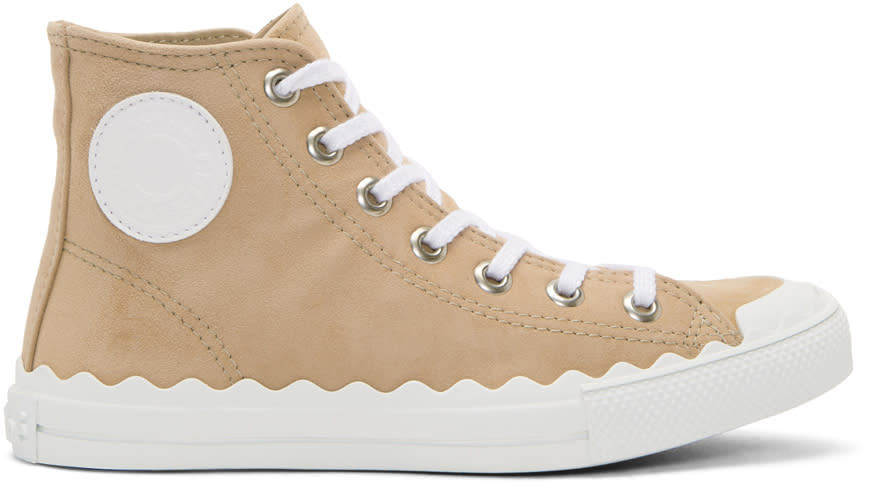 Image of Chloé Beige Kyle High-top Sneakers