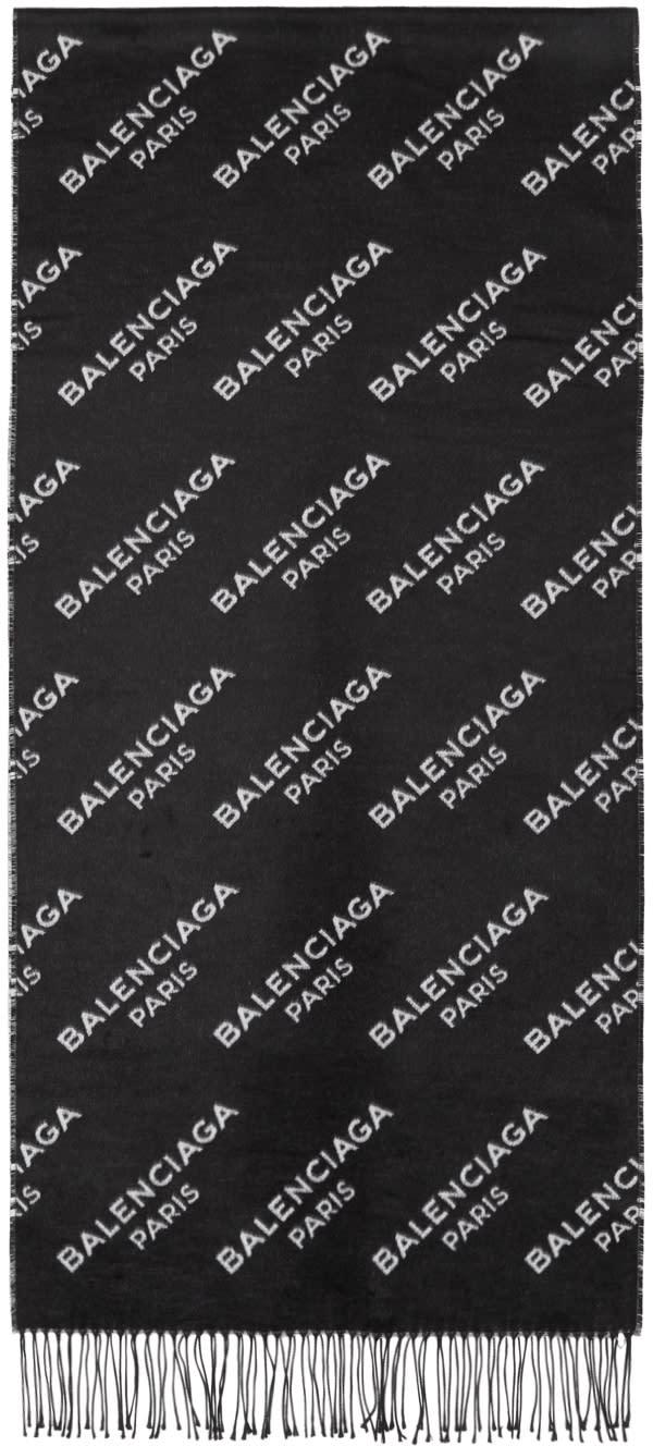Image of Balenciaga Black and White Logo Scarf