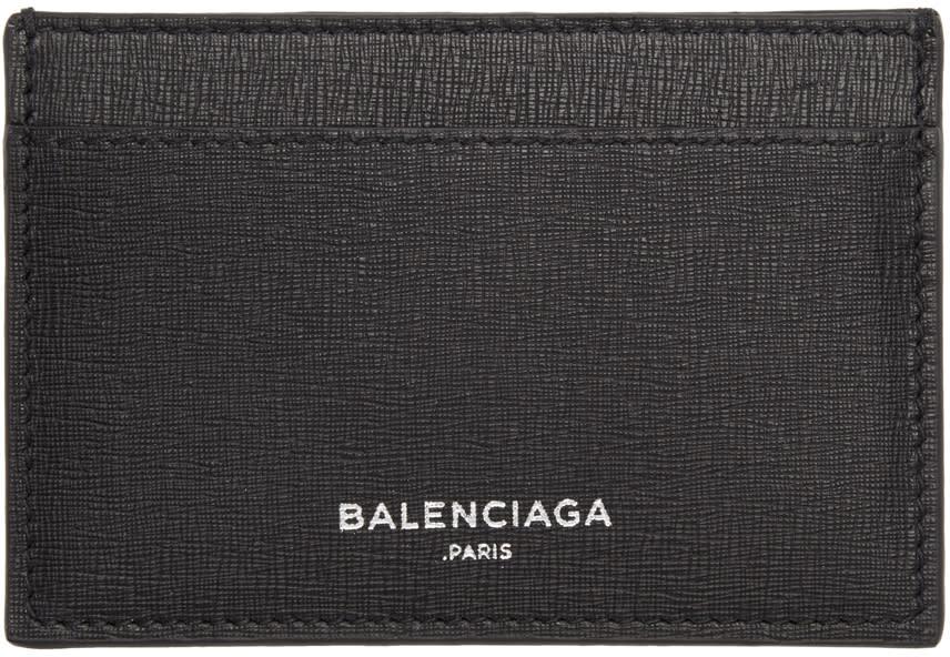 Image of Balenciaga Black Essential Single Card Holder