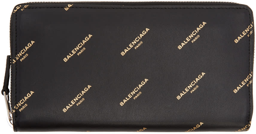 Image of Balenciaga Black Bazar Continental Zip Around Wallet