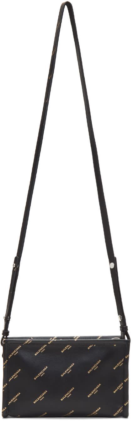 Image of Balenciaga Black All Over Logo Bazar Pochette Strap Bag