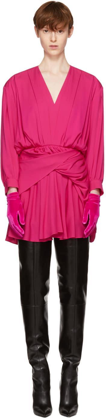 Balenciaga Pink V-neck Uplifted Dress