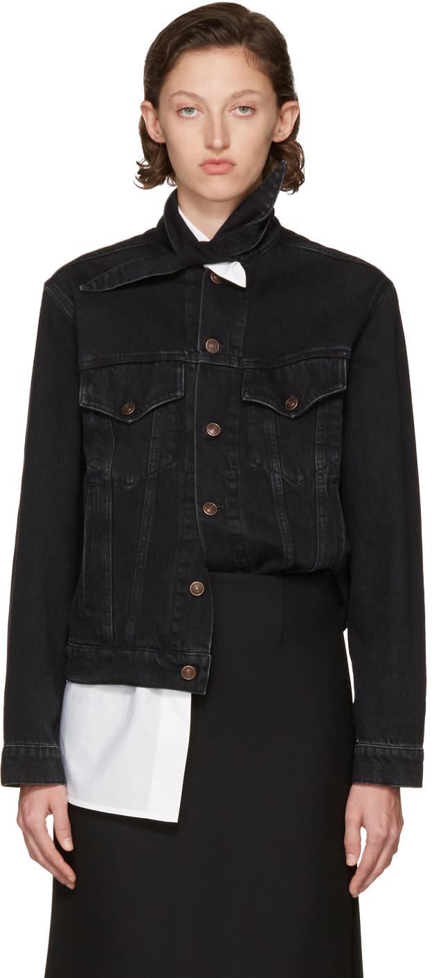 Balenciaga Black Scarf Denim Jacket