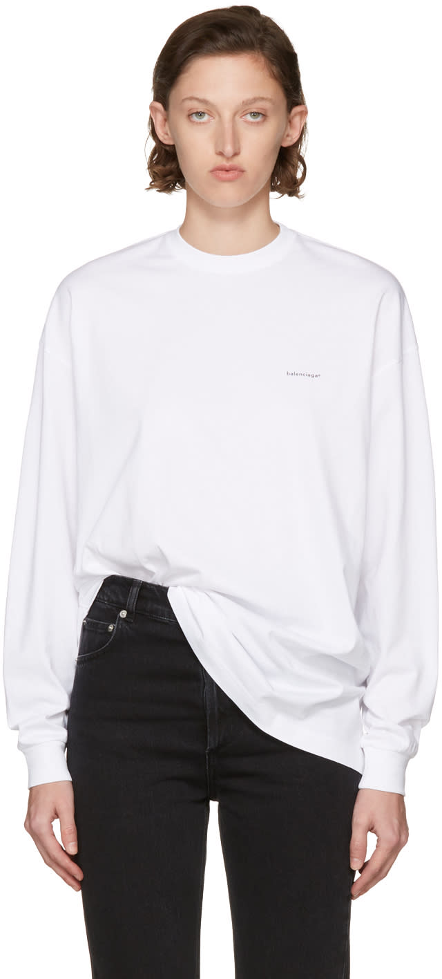 Balenciaga White Long Sleeve Logo T-shirt
