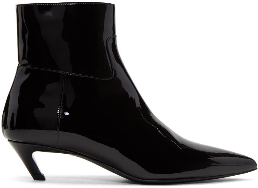 Balenciaga Black Patent Slash Heel Boots
