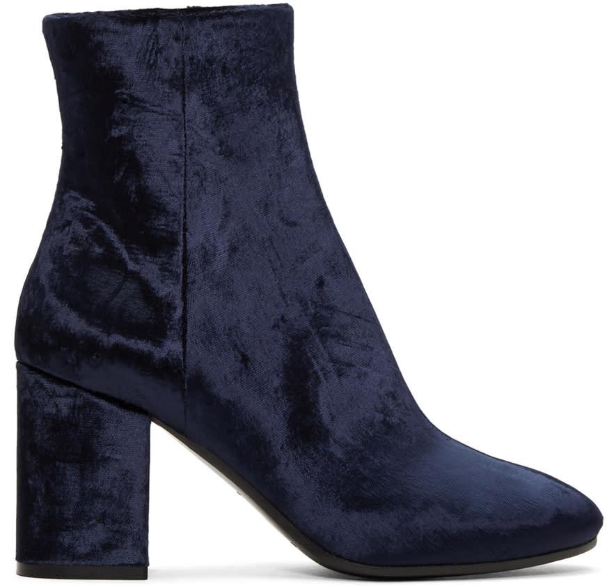 Balenciaga Navy Velvet Ville Boots