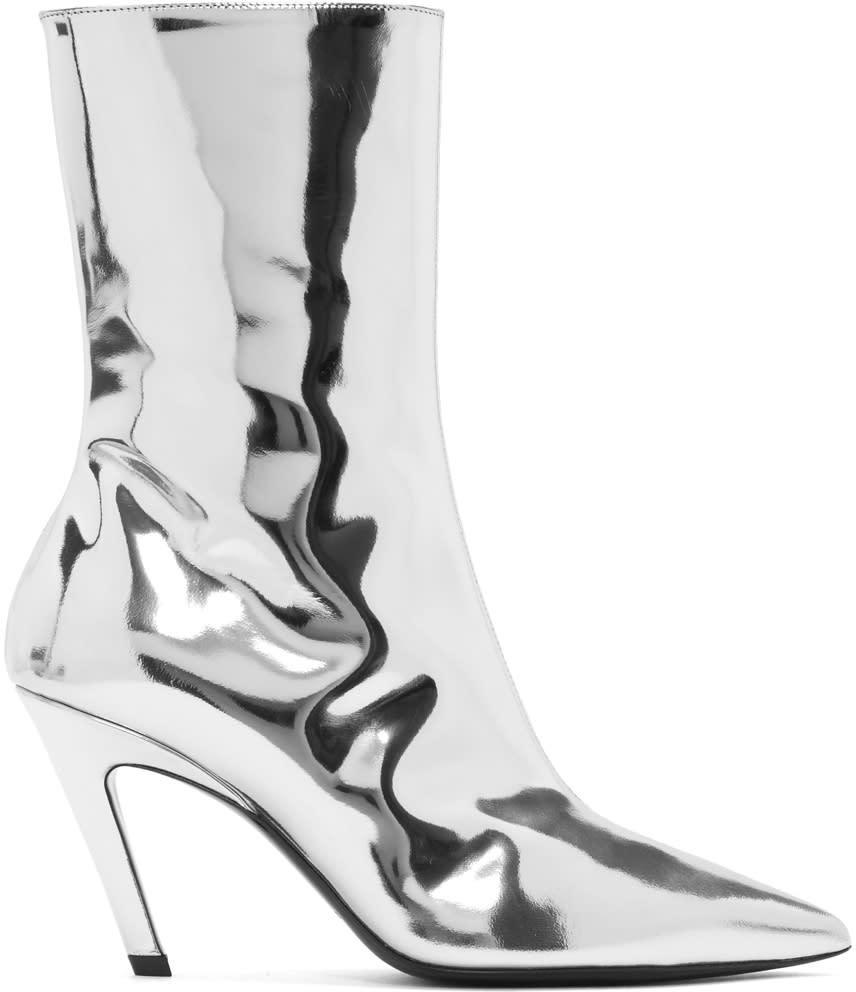 Balenciaga Silver Mirror Slash Heel Boots