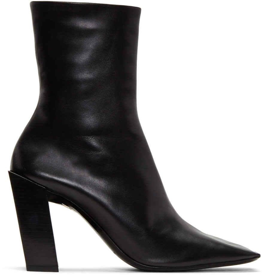 Balenciaga Black Heeled Square Boots