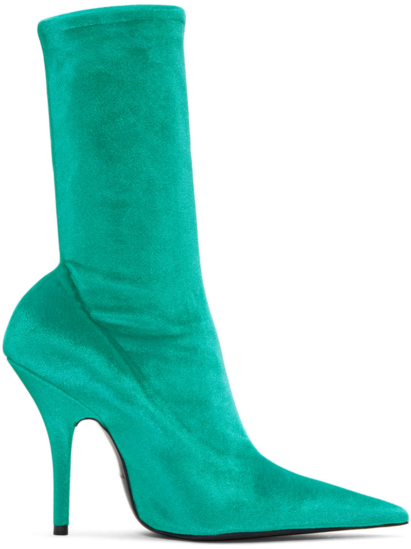 Balenciaga Blue Velvet Knife Boots