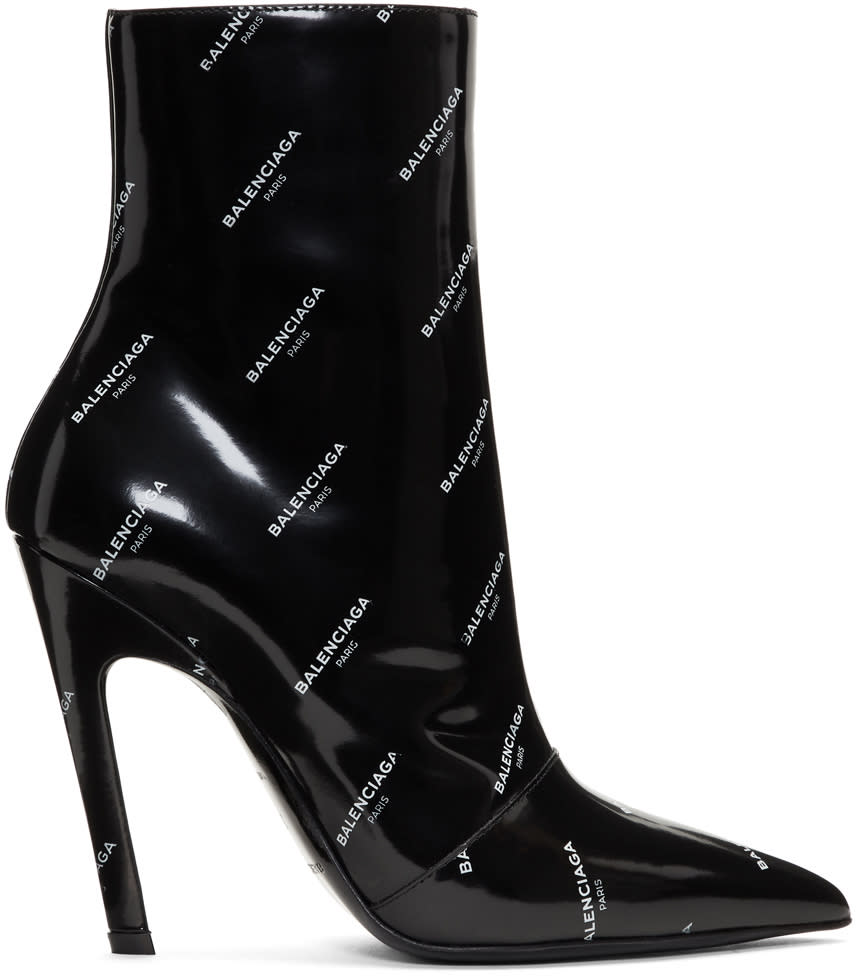 Balenciaga Black Patent All Over Logo Slash Heel Boots