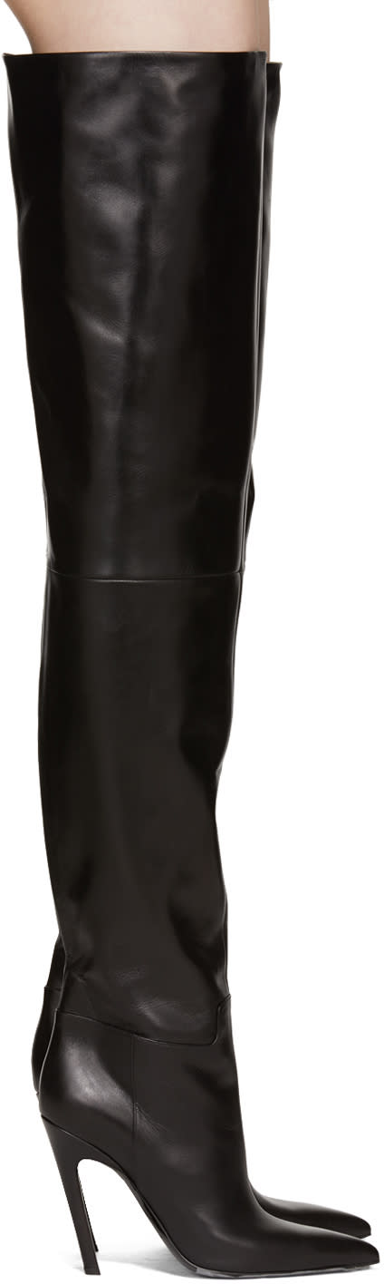 Balenciaga Black Slash Heel Over-the-knee Boots