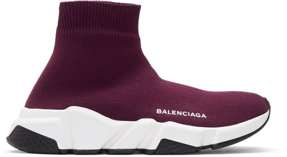 Balenciaga バーガンディ スピード ハイトップ スニーカー