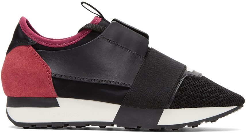 Image of Balenciaga Black and Pink Panelled Sneakers