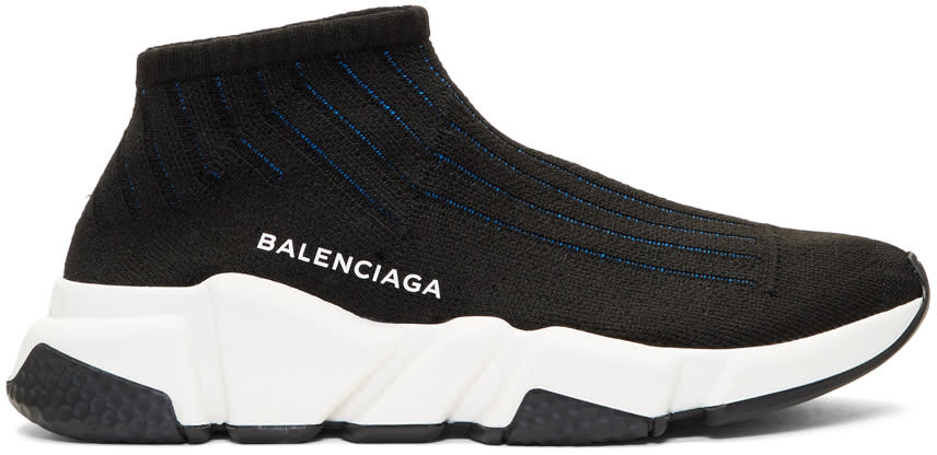 Image of Balenciaga Black and Blue Speedy Knit Sneakers