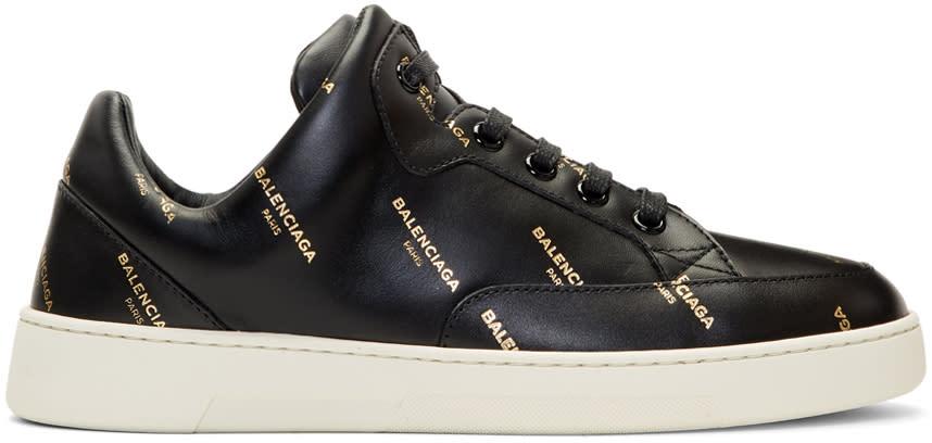 Image of Balenciaga Black All Over Logo Sneakers